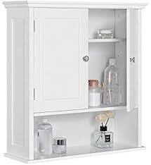 topeakmart white two door wall cabinet