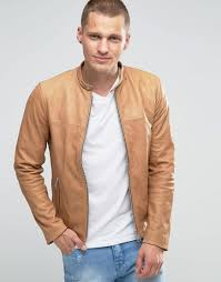 Light Brown Leather Jacket Mens Leather Biker Jacket In Tan