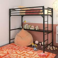 dhp mabel twin metal loft bed with desk