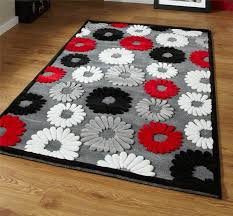 black red and grey flower rug very modern pattern design white red black and grey rugs