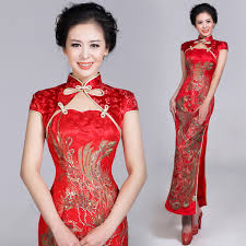Cap Sleeve Gold Phoenix Embroidered Red Brocade Long Cheongsam