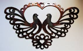 ornamental love bird doves metal wall art 14 x 9  on love birds metal wall art with email