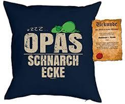 Opa Sprüche Kissen Geschenk Großvater Geschenk Zzz Opas Schnarch Ecke Kissen Ohne Füllung Urkunde Farbe Navyblau