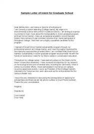 Sample Letter Of Intent For Graduate School Letter Of