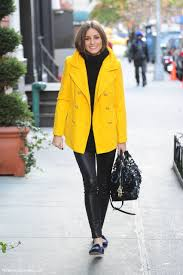 step up your off duty look in a yellow peacoat and black leather leggings