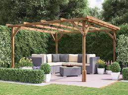 utopia wooden pergola garden kit plants