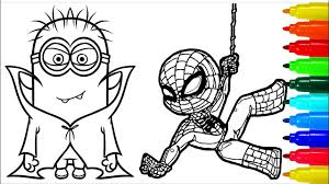 419x778 despicable me coloring pages despicable me coloring sheets. Spiderman Babes Minions Vampires Coloring Pages Colouring Pages For Kids With Colored Markers Youtube