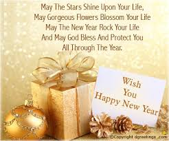 card happy new year quote with gifts