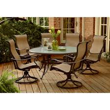 7 piece patio set with swivel chairs manor high dining bar in cast