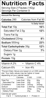 Miguel S Nutrition Chart Nutrition Facts Chipotle Chicken Flautas Abf Don Miguel