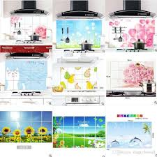 colorful kitchen wall decor sticker aluminum foil kitchen stick anti oil pink flower dandelion sunflower fruit