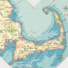 cape cod map heart print by bombus off the peg