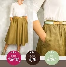 Skirt Patterns With Pockets Extraordinary Flared Midi Skirt With Side Pockets Sewing Pattern PDF Sinclair