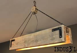wood lighting. rectangular industrial suspension made from reclaimed wood with pulley and chains this product can be lighting