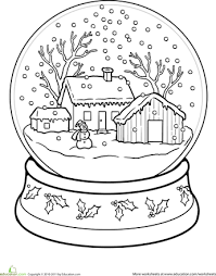 Snow Globe Coloring Page Christmas Crafts For Kids Pinterest