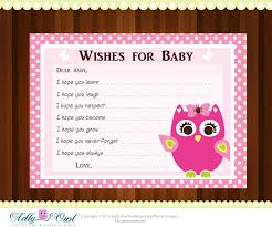 Pink Girl Owl Baby Shower Wish And Advice Card Printable DIYBaby Shower Cards To Print