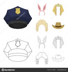 Rabbit Ears Judge Wig Cowboy Hats Set Collection Icons In Cartoon