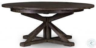 Contemporary black farmhouse dining table: Cintra Rustic Black Olive Round Extendable Dining Table From Fourhands Coleman Furniture