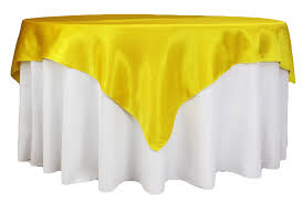 square 72 satin table overlay canary yellow bright yellow