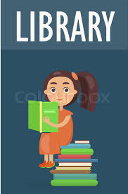 cute sits on pile of literature and holds green open book in library vector ilration on blue background in cartoon style