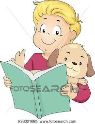 clipart kid reading book pet dog fotosearch search clip art ilration murals