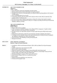 Aquatics Coordinator Resume Samples Velvet Jobs
