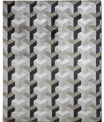 contemporary rug patterned wool silk ypsilon grey