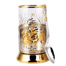 three bogatyrs gold plated tea glass holder