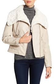 image of guess faux fur collared faux leather jacket