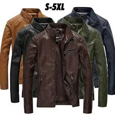 Size S-5XL Autumn Winter <b>Motorcycle Leather</b> Jacket Mens <b>Stand</b> ...