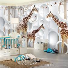 unique 3d view giraffe wallpaper cute animal wall mural art kids bedroom wallpaper