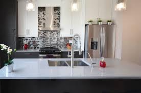 a beautiful back splash in a kitchen