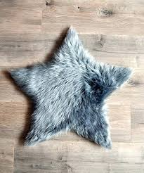 gray star faux fur rug fox large