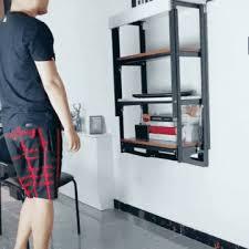 wall mounted convertible shelf table