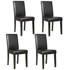 dining chairs black and white. set of 4 dining chair elegant design kitchen dinette room black leather backrest chairs and white