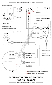 part l ford ranger alternator wiring diagram 1992 2 3l ford ranger alternator circuit wiring diagram