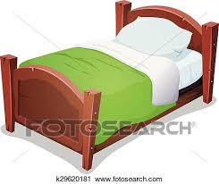 bed clipart. Wonderful Clipart Clipart  Wood Bed With Green Blanket Fotosearch Search Clip Art  Illustration Murals On