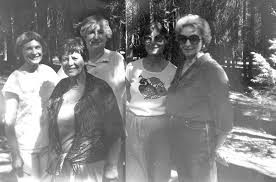 Esther M. Zimmer Lederberg: Eleanore Zebrowski; Evelyn Carlson; Sonja  Wilcomer; Eileen; Calaveras Big Trees State Park, Cal. (Oct. 2, 1987)