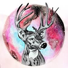 цветной универсальный эскиз тату олени 179