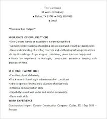 Construction Resume Templates Construction Resume Template 9 Free