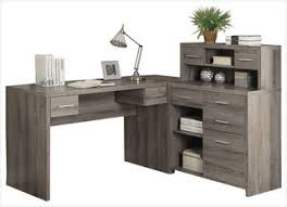 shaped home office desks. Dark Taupe Reclaimed Look L Shaped Home Fice Desk Contemporary Desks And Hutches Office
