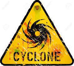 Cyclone Warning Sign, Heavy Weathered ...
