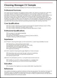 Cv For Cleaning Job Cleaning Manager Cv Sample Myperfectcv