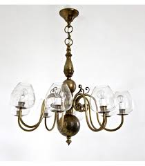eight armed brass chandelier with blown glass lampshades 1960s