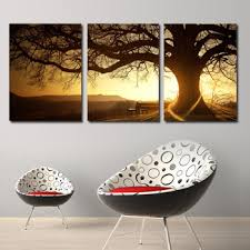 get quotations 3 panel tree sunset dusk landscape oil painting large wall art picture for living room decoration on wall art trees large with cheap dry tree painting find dry tree painting deals on line at