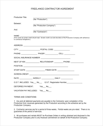 sample lance contract templates sample example   lance contractor agreement template