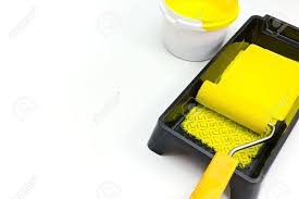paint roller background. Wonderful Paint Paint Roller In Tray With Can On White Background Stock Photo   40151856 To Paint Roller Background I
