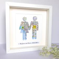 personalised couple map picture wedding gift