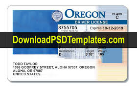 Oregon Template Psd Driving License editable Or
