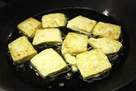 pan seared silken tofu with scallion